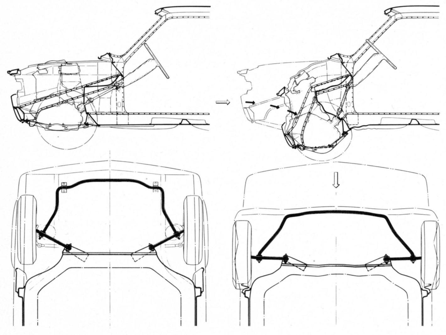 Fiat 128 deformazione piantone sterzo e braccetti