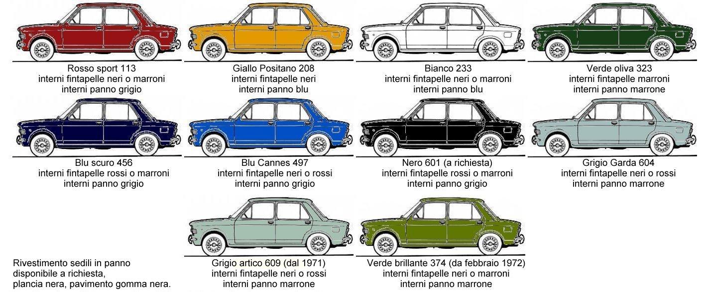 Gamma colori 128 berlina I serie